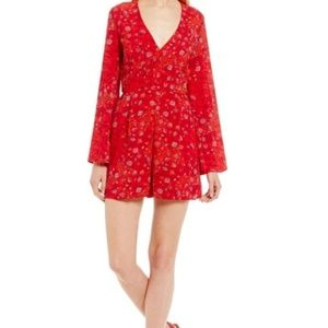 Honey and Rosie Red Floral Boho Romper Sz S
